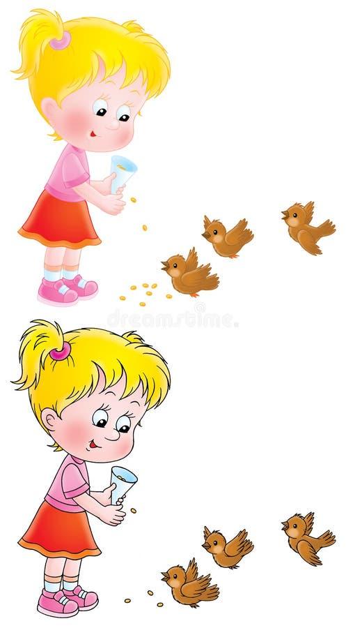Kleines Mädchen speist die Vögel stock abbildung