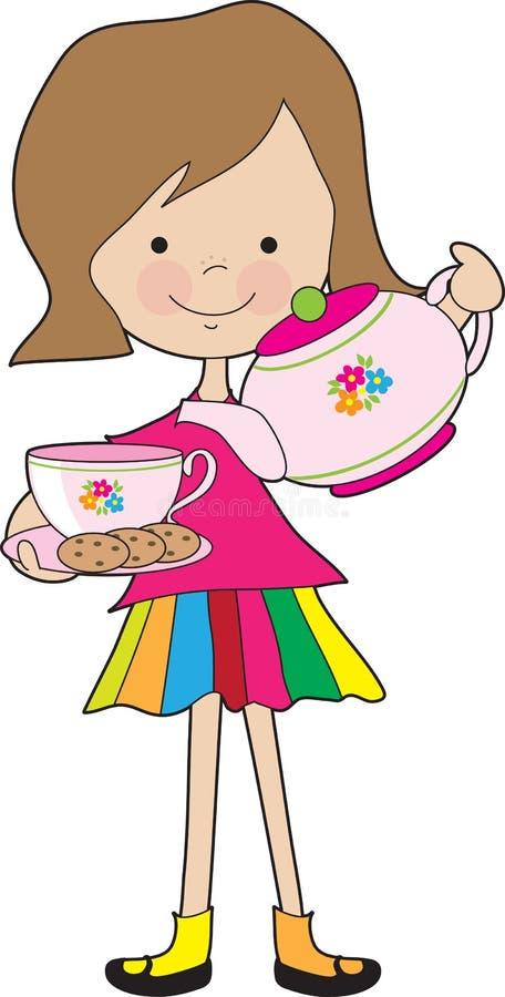 Kleines Mädchen-Tee lizenzfreie abbildung