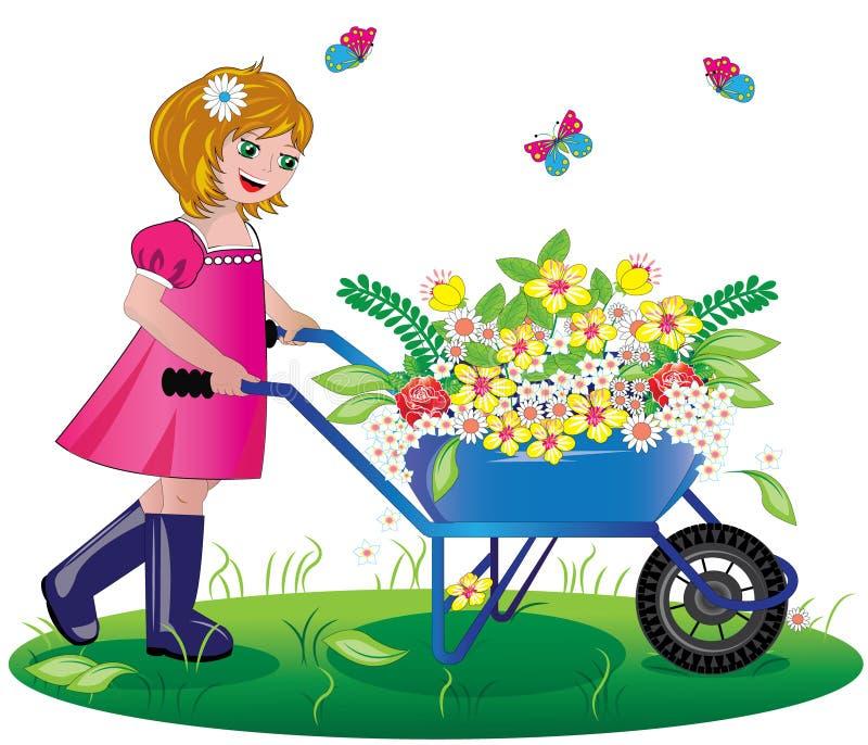 Kleines Mädchen und Blumen vektor abbildung