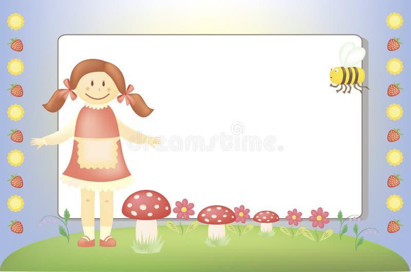 Kleines Mädchen und eine Biene auf einer Wiese lizenzfreie abbildung