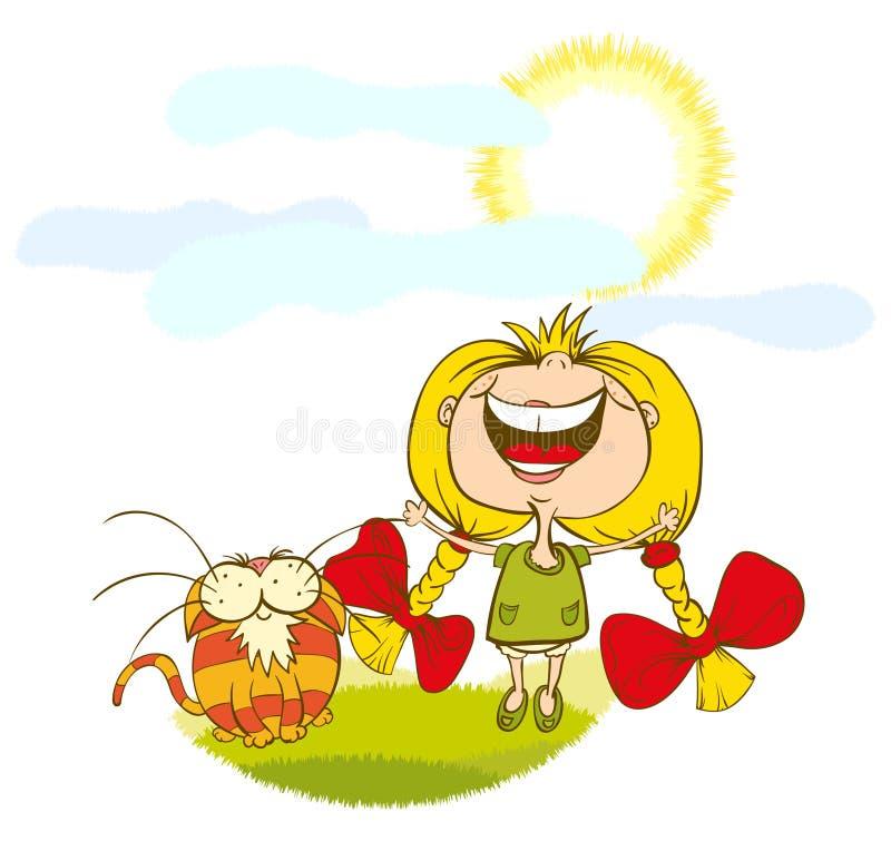 Kleines Mädchen und eine glückliche Sonne der Katze lizenzfreie abbildung