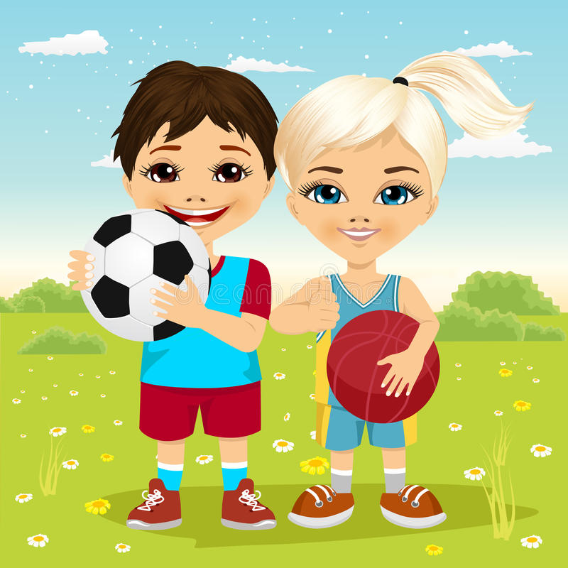 Kleines Mädchen und Junge, die einen Fußball und einen Basketball hält vektor abbildung
