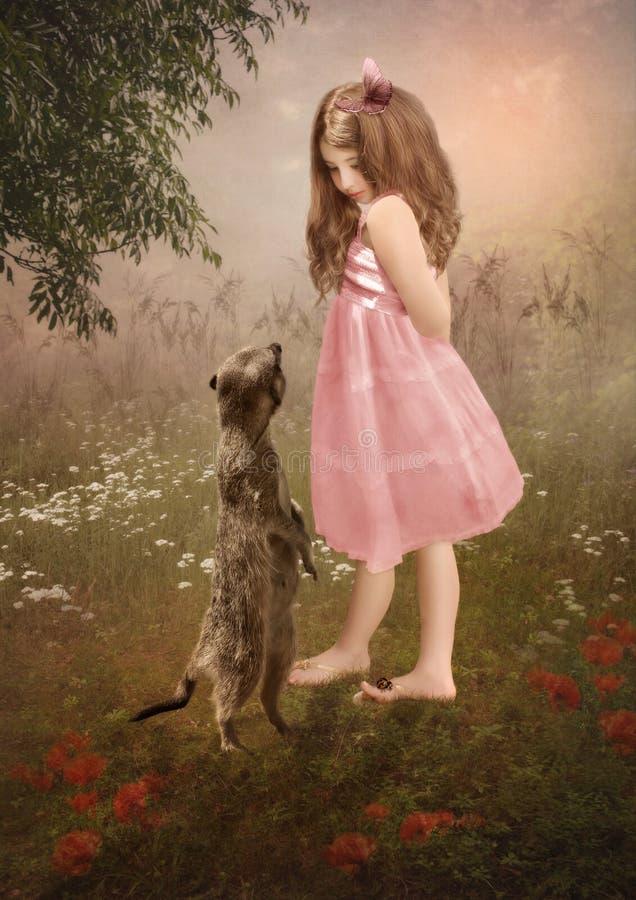 Kleines Mädchen und meerkat lizenzfreies stockbild