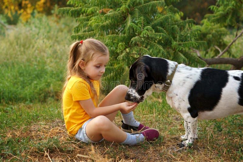 Kleines Mädchen und nicht reinrassiger Hund draußen lizenzfreies stockfoto