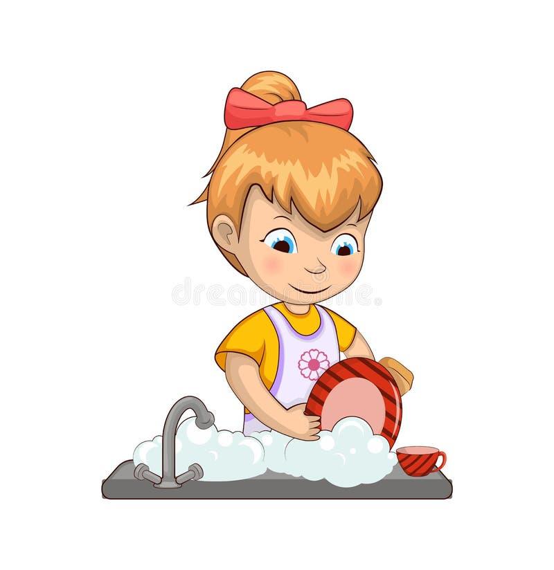 Kleines Mädchen-waschende Teller-Vektor-Illustration lizenzfreie abbildung