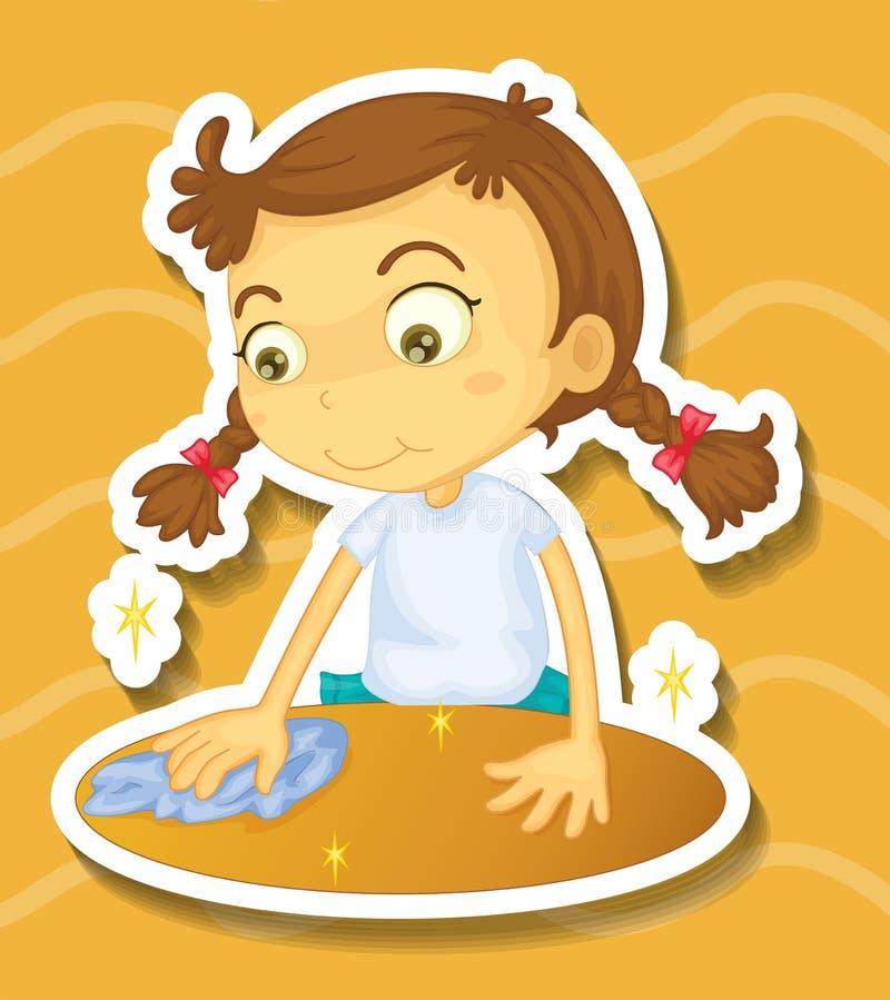Kleines Mädchen, welches die Tabelle säubert stock abbildung