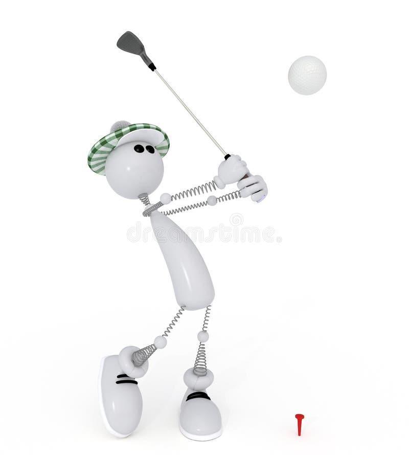Kleines Mann 3d Golfist. Lizenzfreies Stockbild
