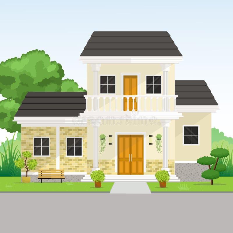 Kleines modernes klassisches Haus mit Garten-Ansicht lizenzfreie abbildung