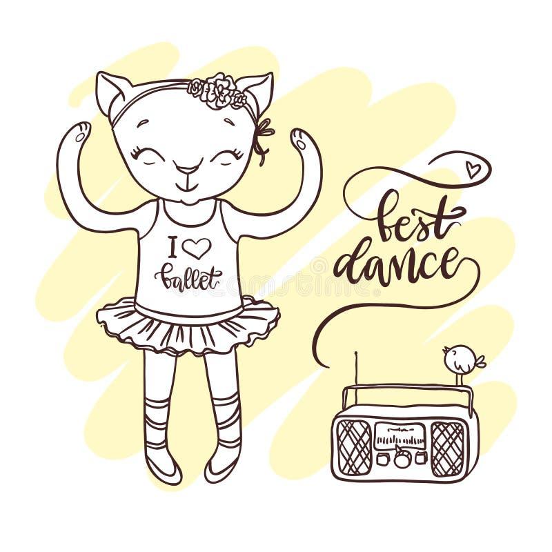 Kleines nettes Kätzchen im Ballettballettröckchen mit Radio Von Hand gezeichnete Kontur vektor abbildung
