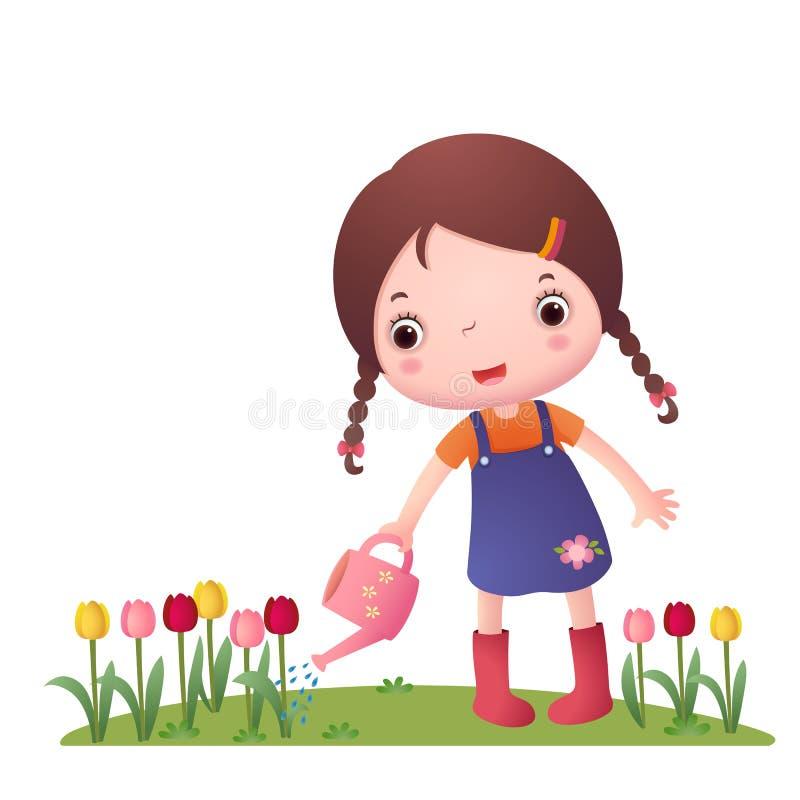 Kleines nettes Mädchen-Bewässerungsblumen vektor abbildung