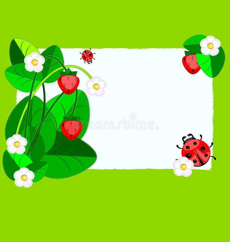 Kleines Papier, Erdbeere und Marienkäfer vektor abbildung