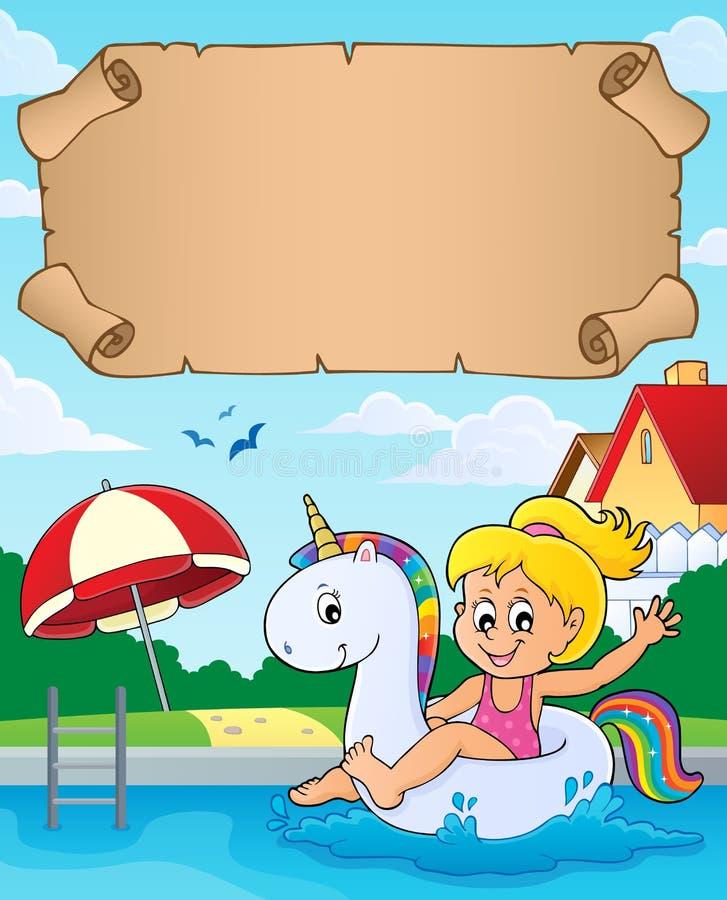 Kleines Pergament und Mädchen im Pool stock abbildung