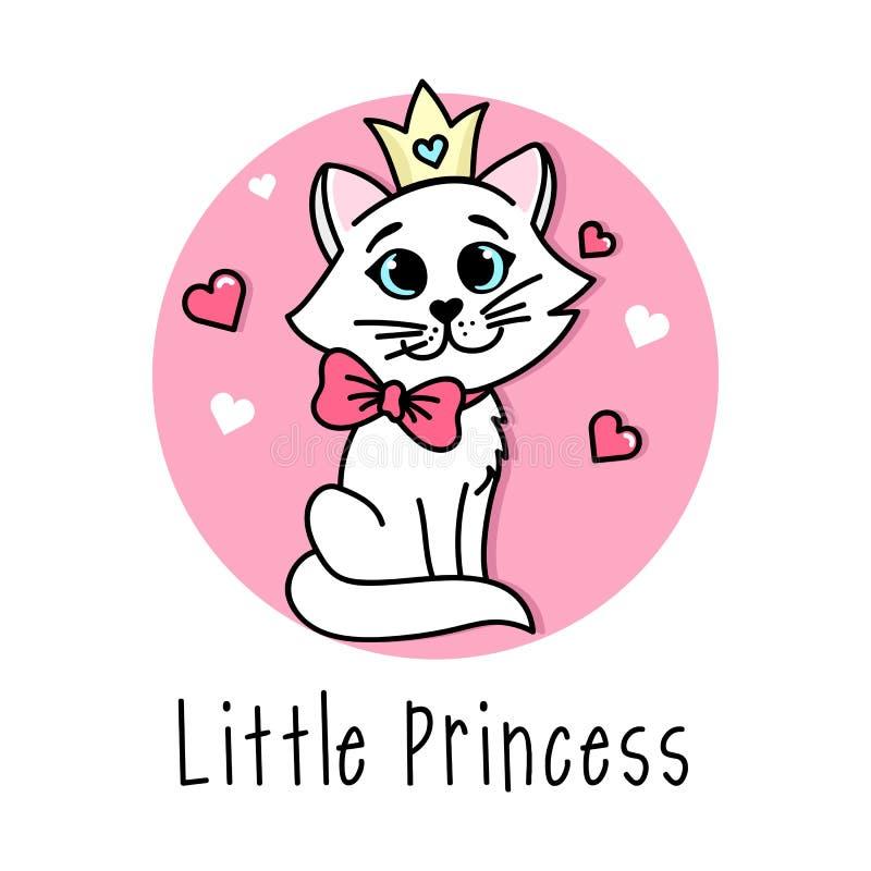 Kleines Plakat Prinzessin Vector mit netter Katze mit Bogen und Krone lizenzfreie abbildung