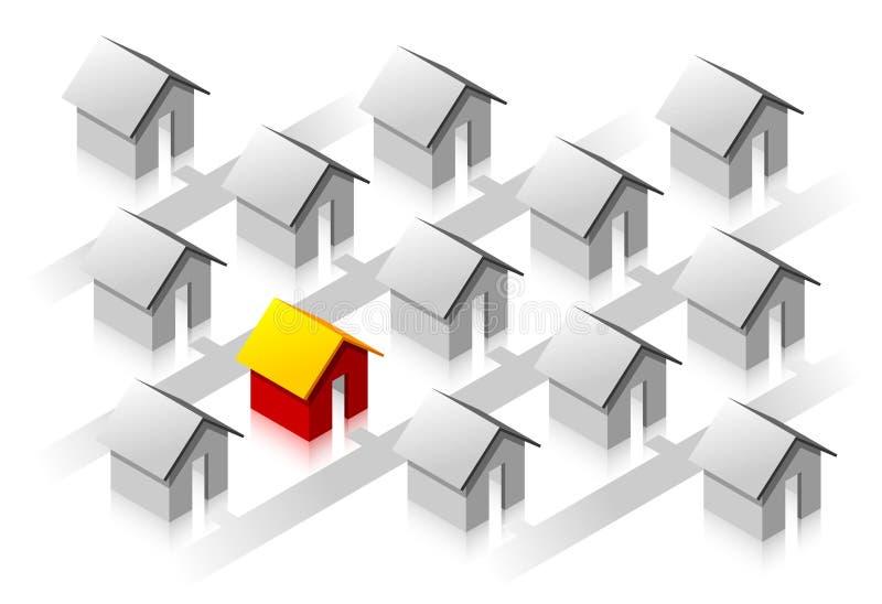 Kleines rotes isometrisches Haus lizenzfreie abbildung