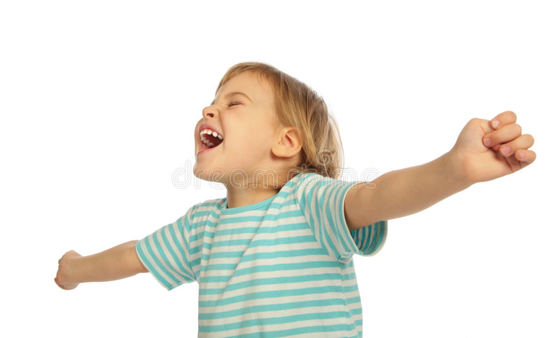Kleines schreiendes Mädchen, ausgedehnte Hände stockbilder