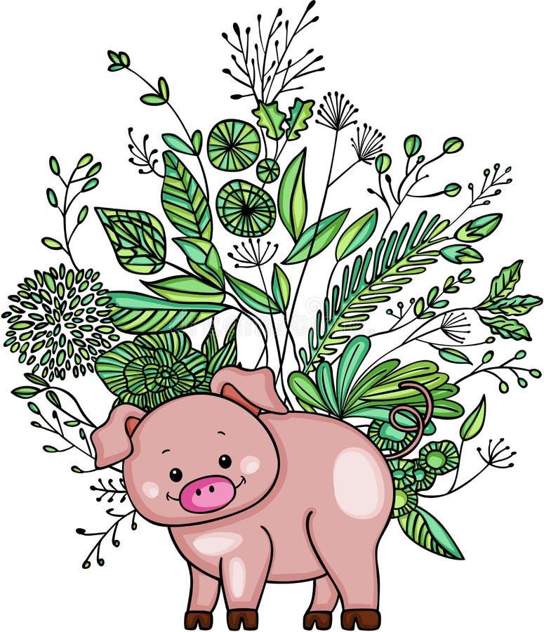 Kleines Schwein mit grünen Unkräutern stock abbildung