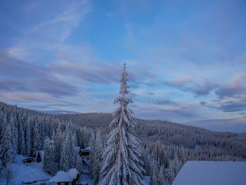 Kleines Skiort bei Sonnenuntergang in den Karpatenbergen lizenzfreie stockfotografie