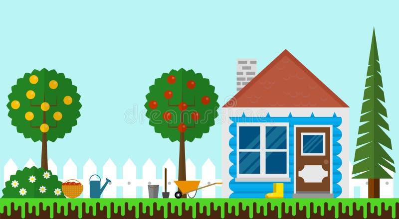 Kleines Sommer-Haus im Garten mit Zaun Flat Design vektor abbildung
