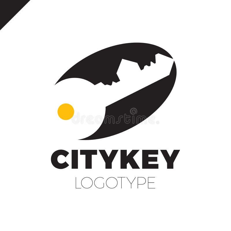 Kleines Stadt Logo des Erbauers, Hausschlüssel lokalisiert Schattenbild der Stadt ` s Architektur Auch im corel abgehobenen Betra stock abbildung