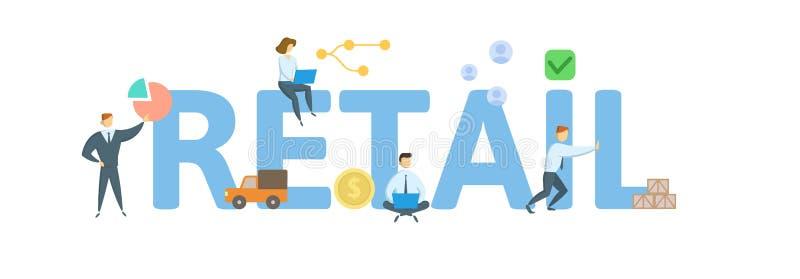 kleinhandels Concept met sleutelwoorden, brieven en pictogrammen Vlakke vectorillustratie Ge?soleerdj op witte achtergrond royalty-vrije illustratie