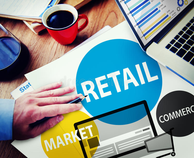 Kleinhandels de Aankoopconcept van de Handelsmarkt Van de consument stock foto