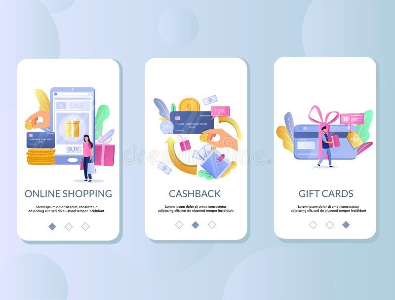 Kleinhandels onboarding de schermen vectormalplaatje van de beloningenmobiele toepassing royalty-vrije illustratie