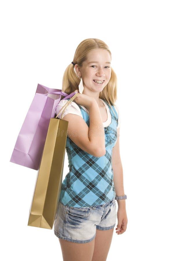 Kleinhandels Winkelende Tiener royalty-vrije stock afbeelding