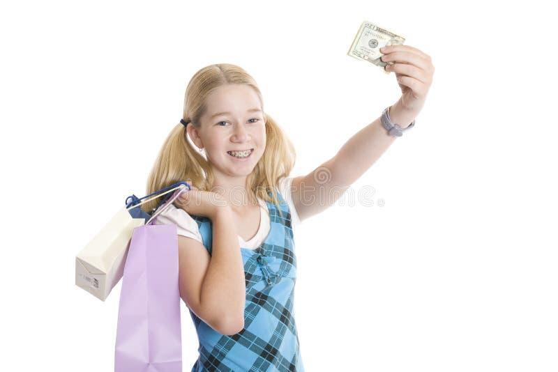 Kleinhandels Winkelende Tiener met Contant geld royalty-vrije stock afbeelding