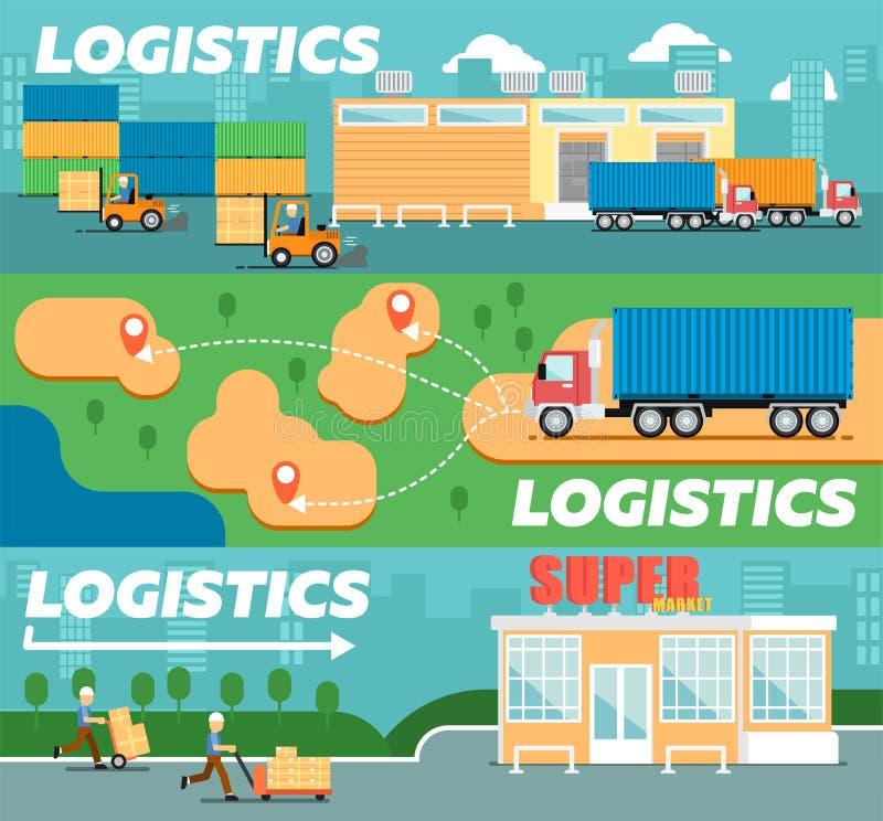 Kleinhandelslogistiek en distributieaffiche vector illustratie