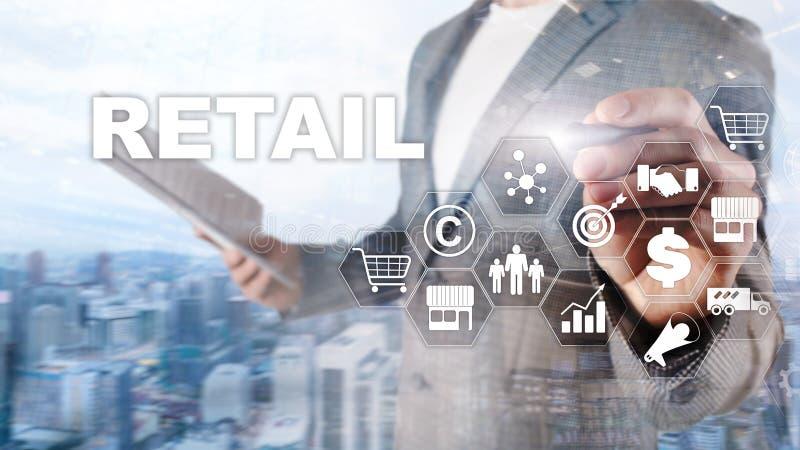 Kleinhandelstechnologie het Communicatie het Winkelen Virtueel Schermconcept Marketing gegevensbeheer Het futuristische Online wi royalty-vrije stock foto's