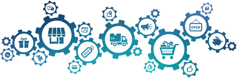 "Kleinikonenkonzept †""Speichermanagement, Einkaufen u. E-Commerce-, Logistik- u. Organisation †""Vektorillustration vektor abbildung"