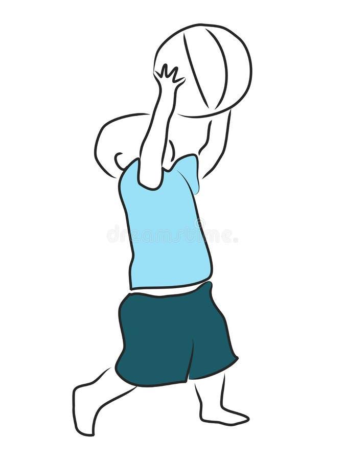 Kleinkind, das Basketball spielt stock abbildung