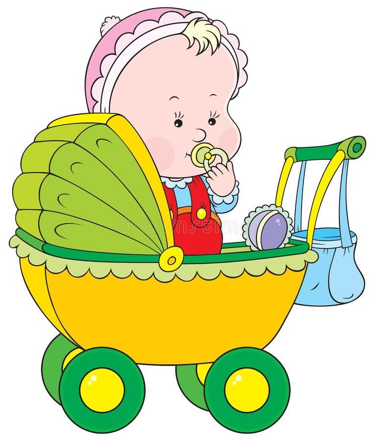Kleinkind in einem Pram stock abbildung