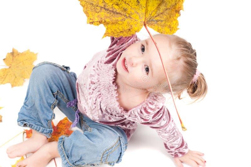 Kleinkind mit Ahornblättern stockbilder