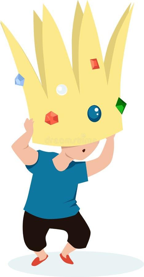 Kleinkind unter einer Krone stock abbildung