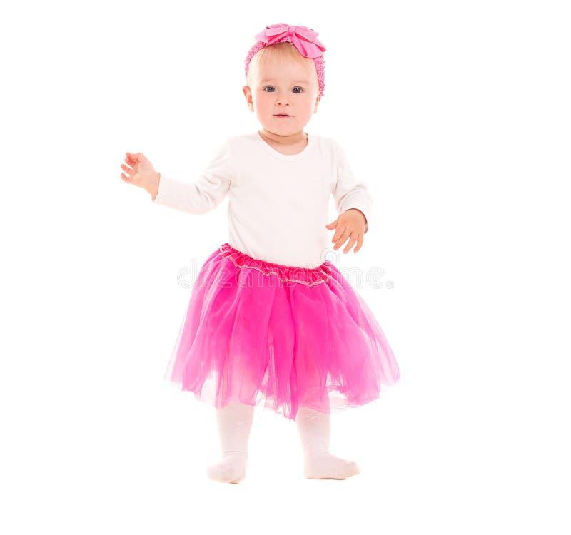 Kleinkindbaby im rosa Ballettröckchenrock lizenzfreies stockbild