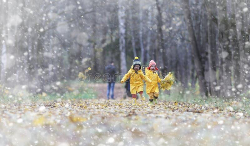Kleinkinder auf einem Weg im Herbst parken Erster Frost und der erste lizenzfreie stockfotografie