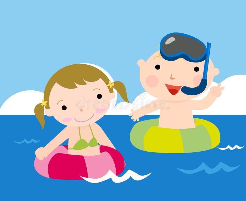 Kleinkinder in dem Meer stock abbildung