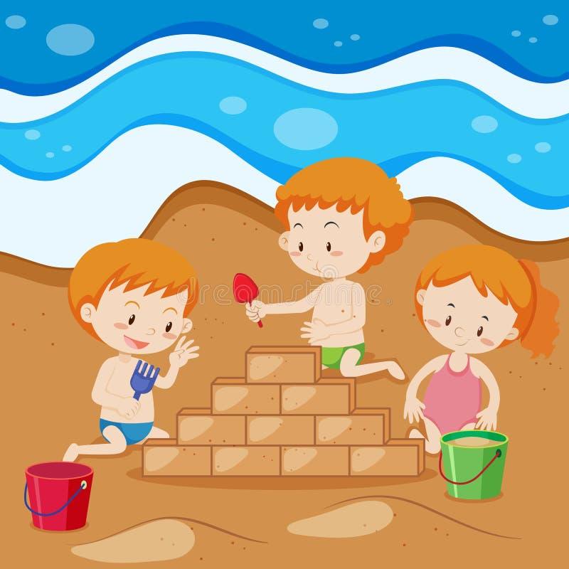 Kleinkinder, die Sand-Ziegelstein errichten lizenzfreie abbildung