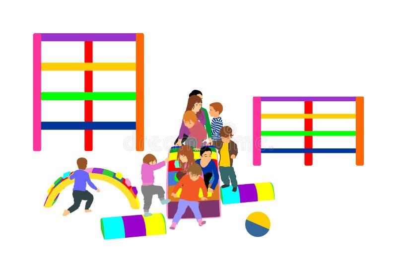 Kleinkindkinder schieben unten Illustration Kinder erhalten unten am Toboggan Innenspielplatzgeburtstagsfeier lizenzfreie abbildung