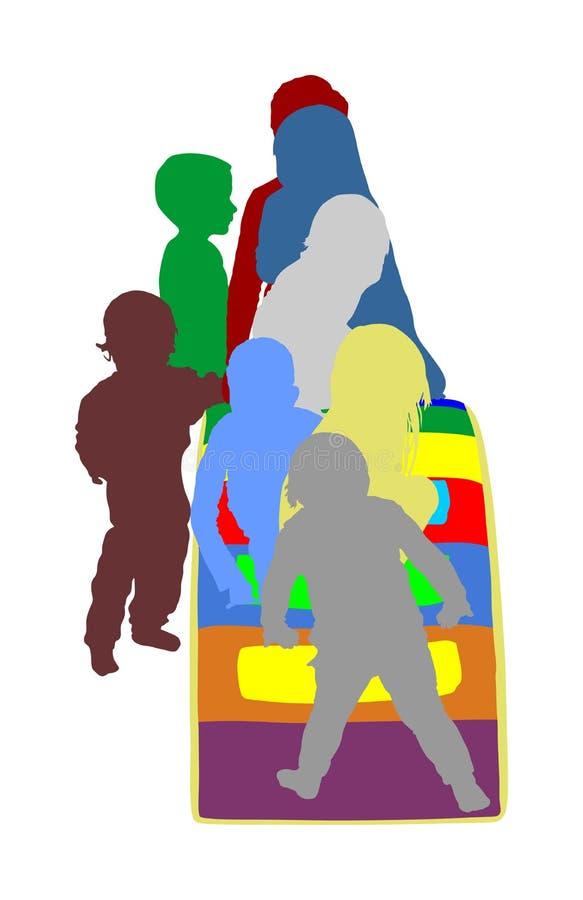 Kleinkindkinder schieben unten Vektorschattenbild Kinder erhalten unten am Toboggan Innenspielplatzgeburtstagsfeier Achterbahn in vektor abbildung