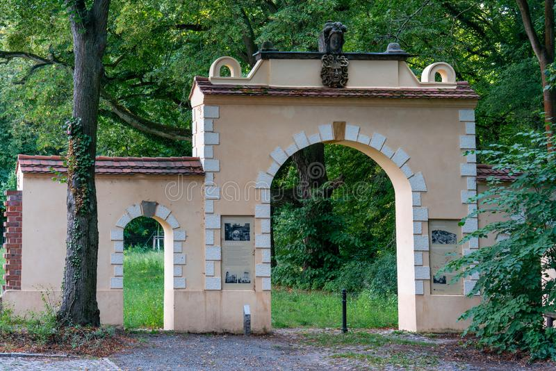 Kleinmachnow, Germany - august 21, 2019: the historical Medusentor medusa arch in Kleinmachnow, Brandenburg, Germany royalty free stock photos