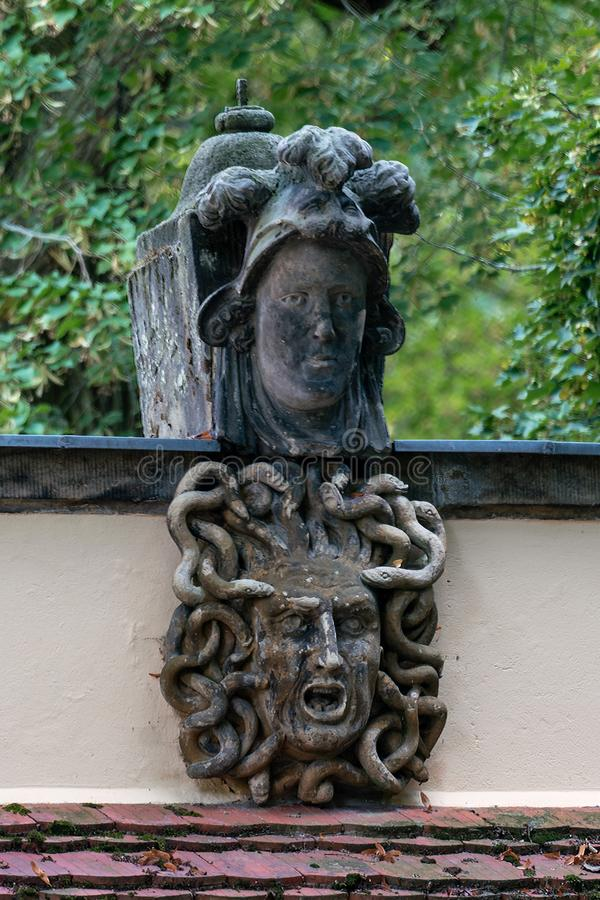 Kleinmachnow, Germany - august 21, 2019: the historical Medusentor medusa arch in Kleinmachnow, Brandenburg, Germany royalty free stock photography