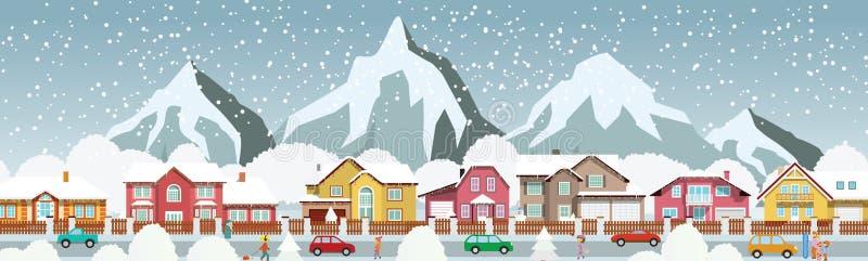 Kleinstadt in den Alpen vektor abbildung