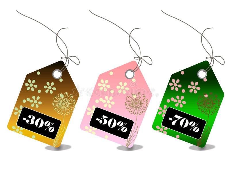 KleinVerkaufspreismarken während jeder hoilday Jahreszeit lizenzfreie abbildung