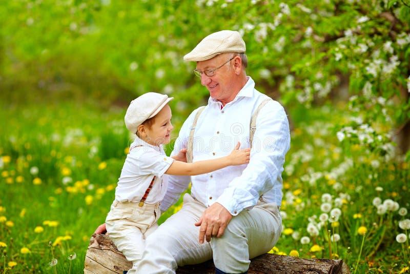 Kleinzoon het spelen met opa in de lentetuin stock foto