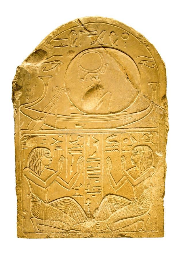 Kleitablet met oude Egyptische hiërogliefen die menselijk F bevatten stock foto
