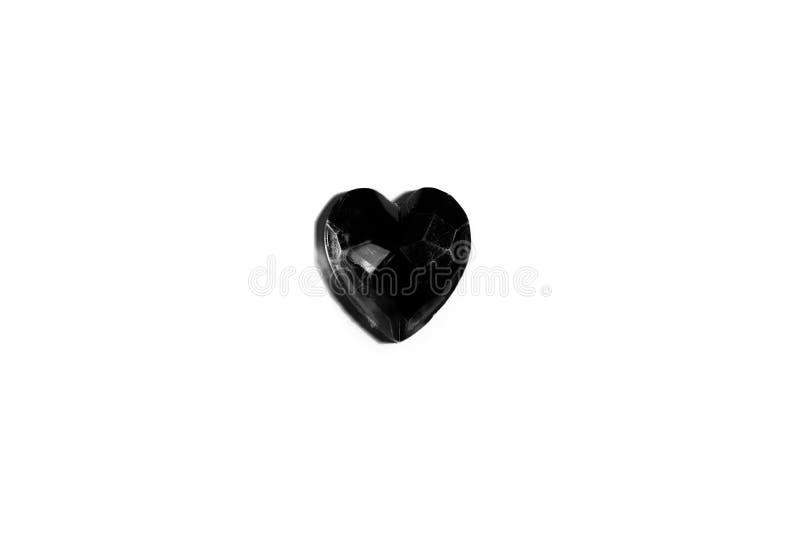 Klejnot czarnego serca na białym tle obrazy royalty free