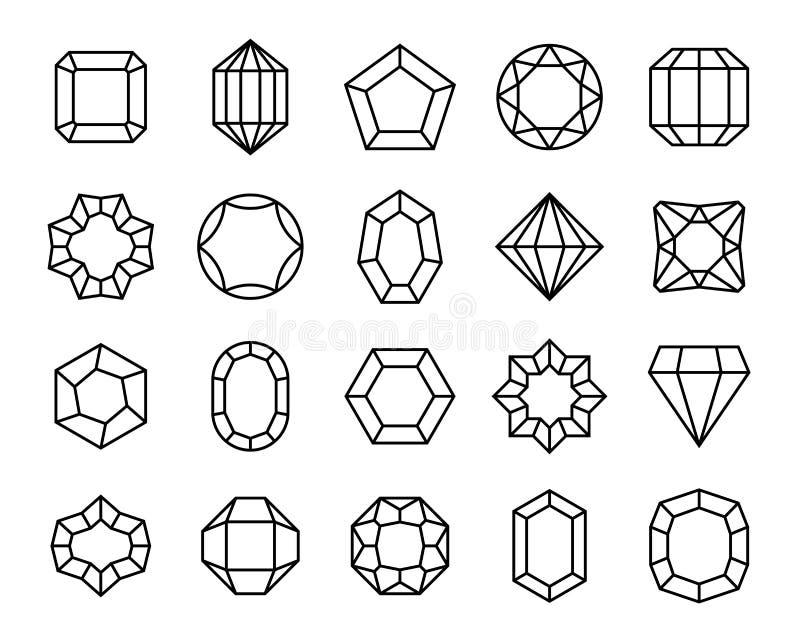Klejnot linia Geometrycznego klejnotów klejnotów konturu kształta kosztowności karowego cennego karatowego genialnego kamienia lu ilustracji