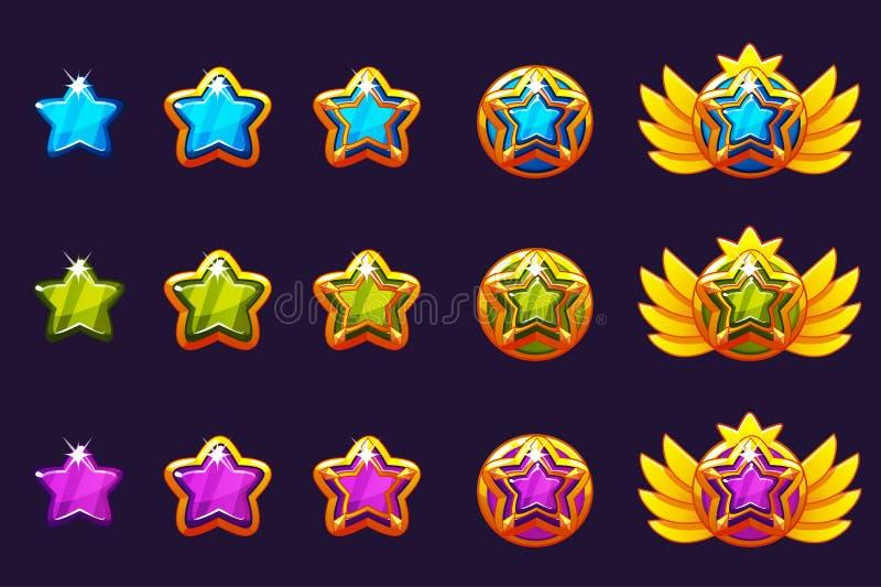 Klejnot nagrody postęp Złoci amulety ustawiający z gwiazdową biżuterią Wektorowe ikon wartości dla gemowego projekta royalty ilustracja